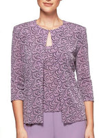 Mauve Twin Set with Silver Accents - Sleeveless Shell and Jacket