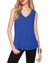 Load image into Gallery viewer, Frank Lyman Royal Blue Chiffon V-neck Top