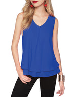 Frank Lyman Royal Blue Chiffon V-neck Top