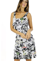 Tango Mango Ruffle Dress White Black Olive