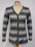 Charcoal striped cardigan, made in Canada