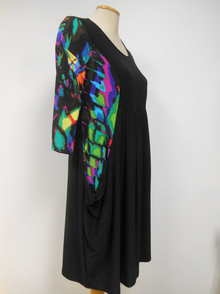 Pretty Woman Pocket Dress, Black Multi Color  - size S only