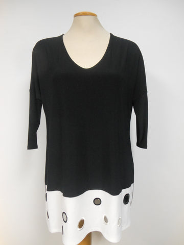 JOSEPH RIBKOFF BLACK WHITE TUNIC