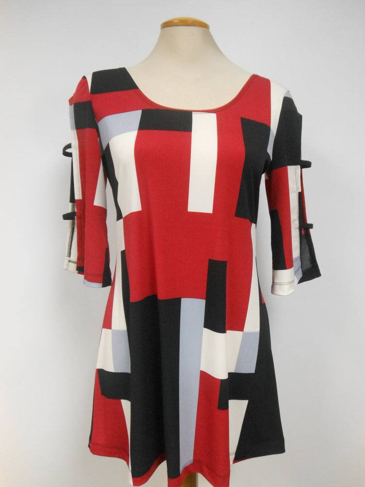 Luc Fontaine Red Black White Block Tunic,  One left, Size  4