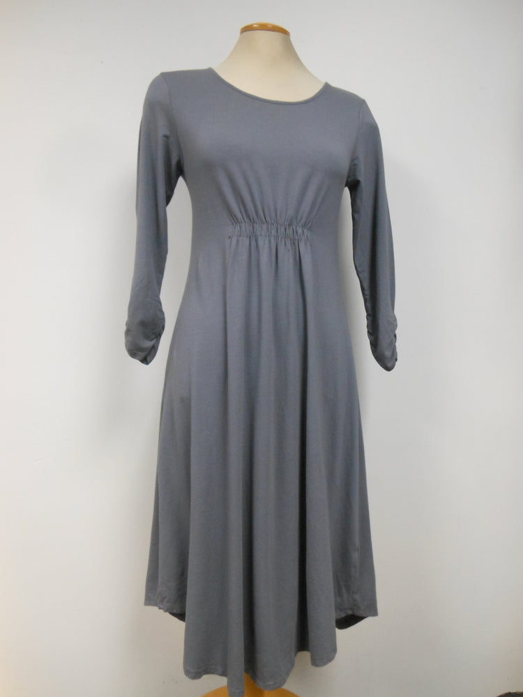 Cotton Blend Grey Cinch Waist Dress - size M