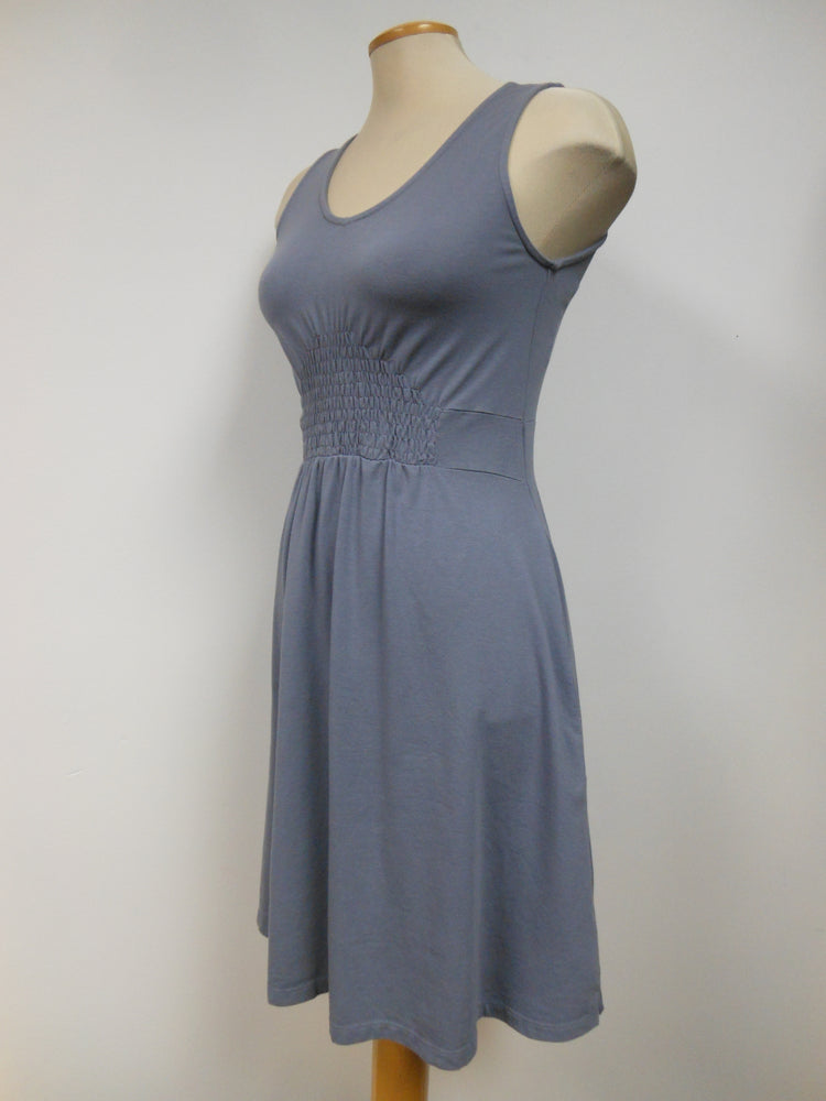 Cotton Blend Grey Smocked Tank Dress