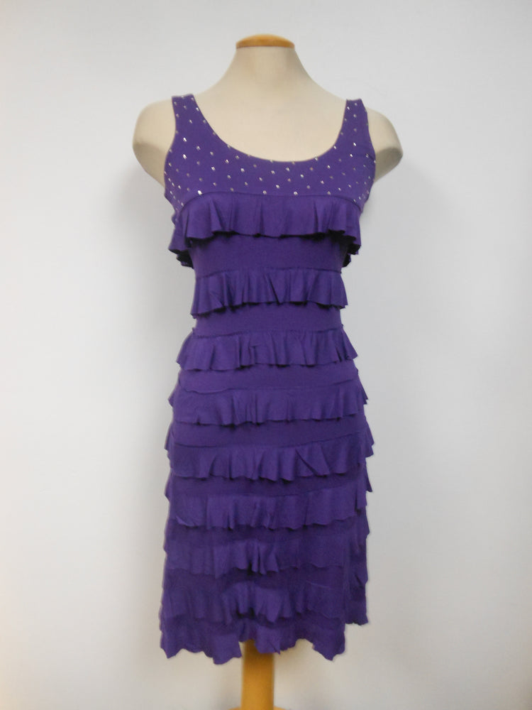 Tango Mango Ruffle Dress with Swarovski Crystals, Purple