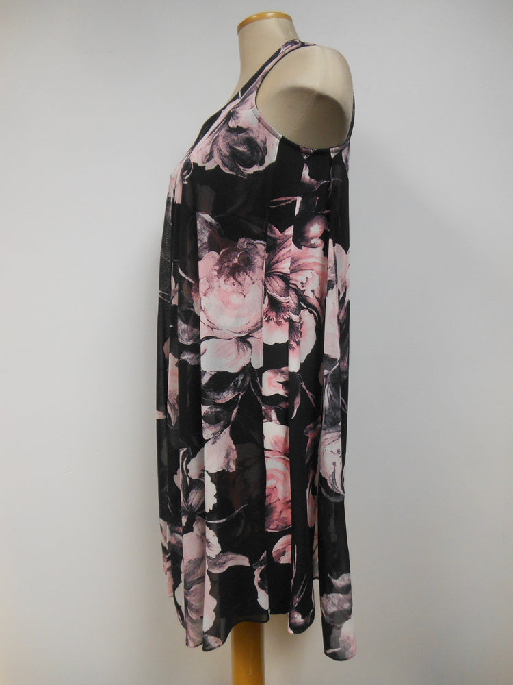 Black Pink Floral Dress - small