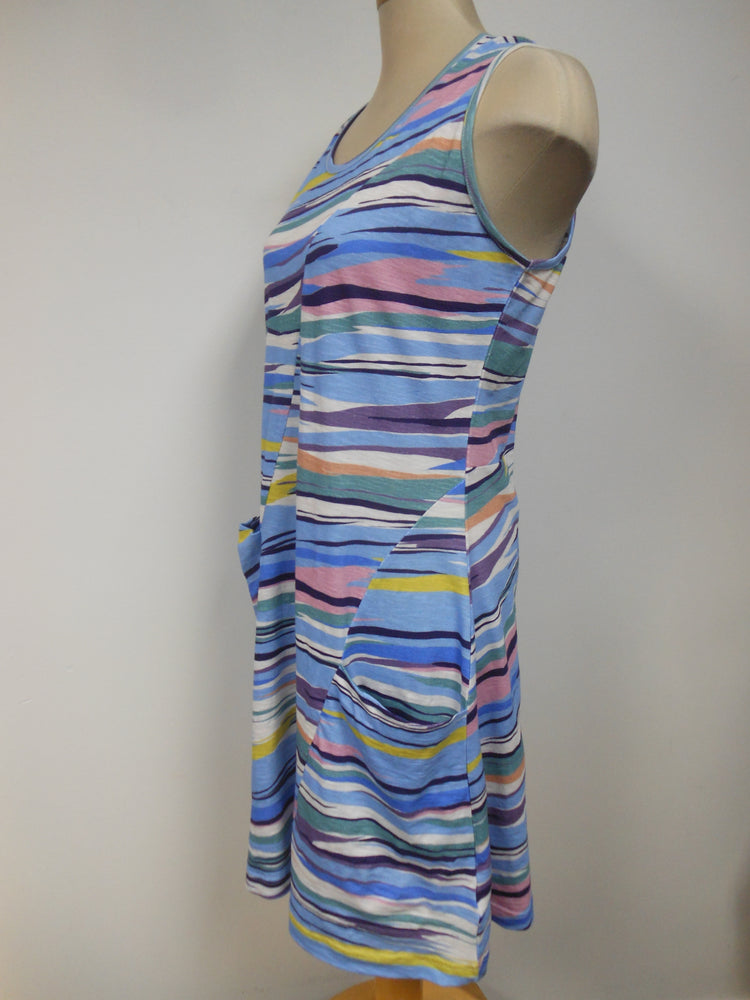 Cotton Blue Striped Tank Dress