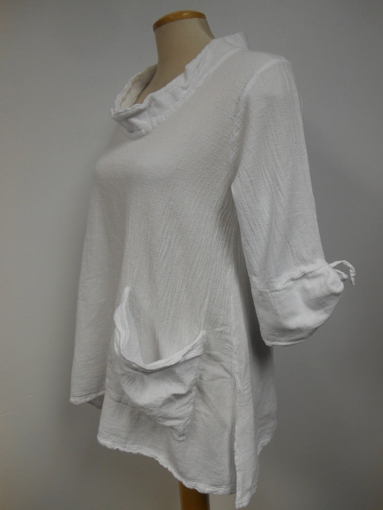 Cotton Pocket Tunic White - one only Size Small (generous fit)