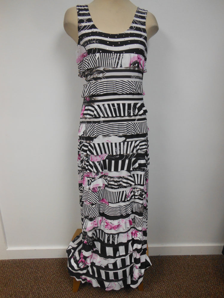 Tango Mango Maxi Ruffle Dress Black Pink