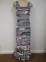Tamgo Mango Maxi Ruffle Dress Black Pink
