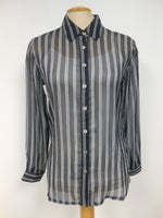 Tango Mango Navy White Sheer Blouse