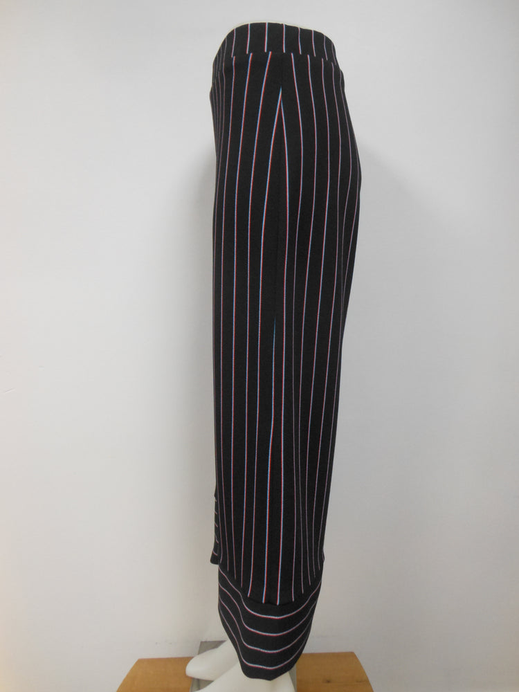 Black Striped Wide Leg Capri