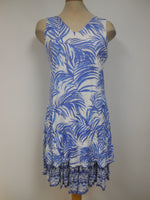 White Blue Leaf Print Dress