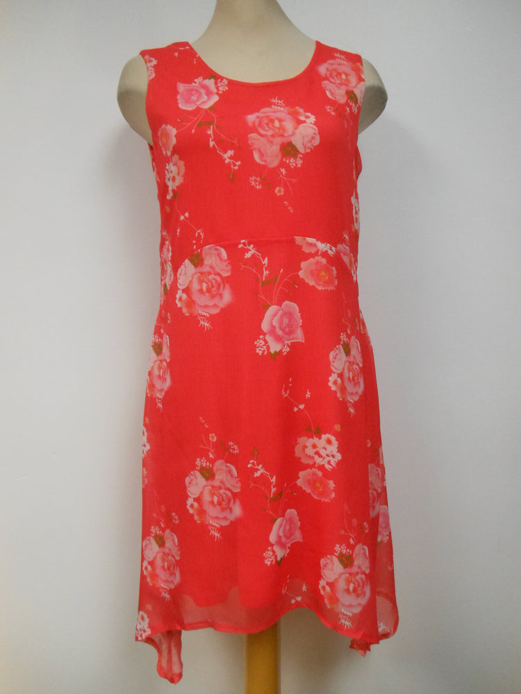 Coral Chiffon Dress with Floral Print