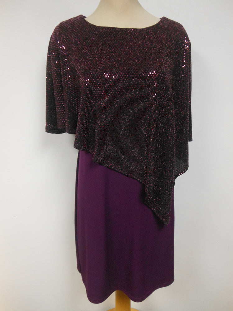 Pretty Woman Layered Cape Dress Eggplant
