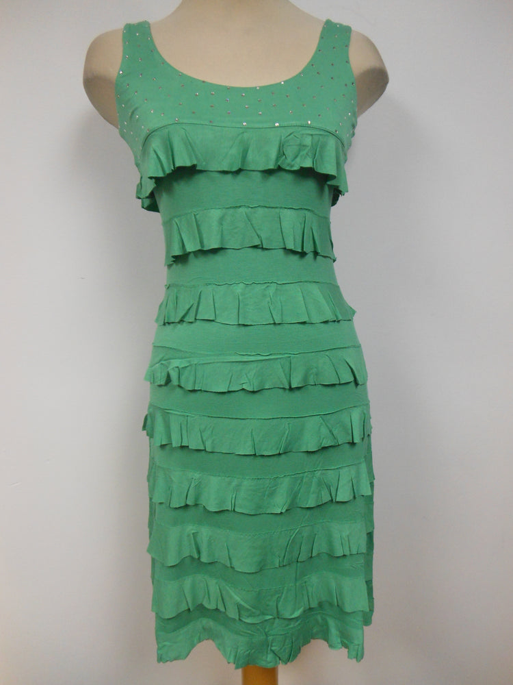 Tango Mango Ruffle Dress with Swarovski Crystals, Green