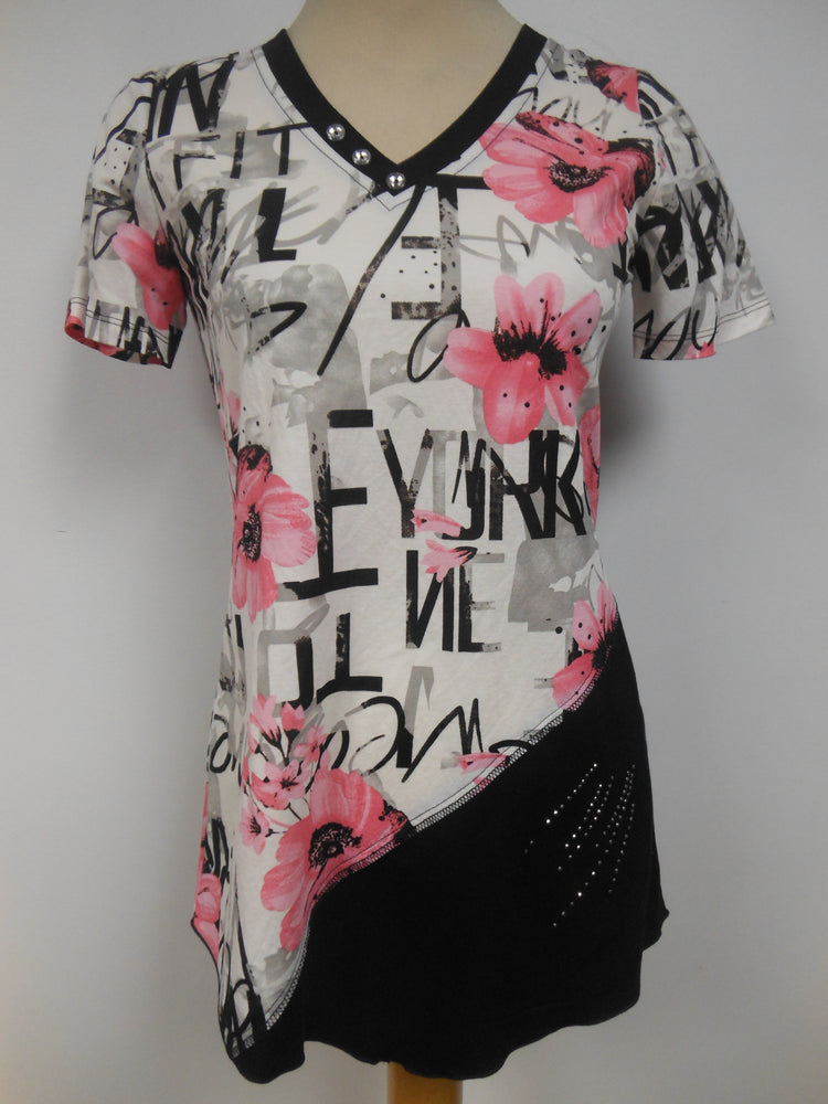 Off White Tunic with Pink Floral Print