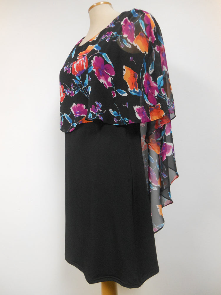 Pretty Woman Layered Cape Dress Black Floral
