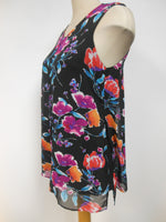 Pretty Woman Layered Tunic, Black Floral