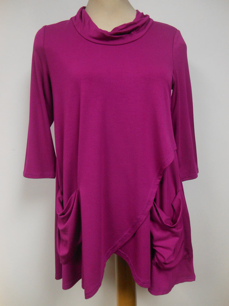 Pretty Woman Bamboo Pocket Cowl Neck Tunic, Orchid