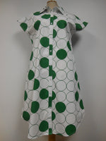 Cotton White Green Polka Dot Dress
