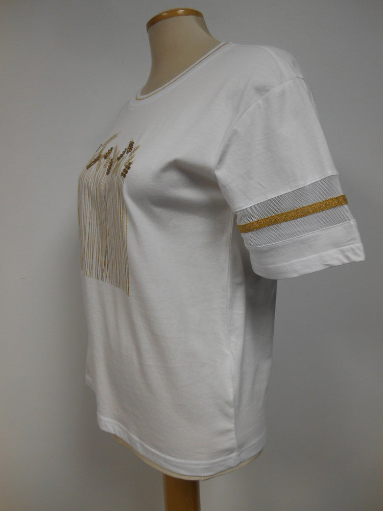 Cotton White Gold Blingy Top with Wheat Motif