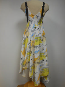 White Yellow Flared Dress