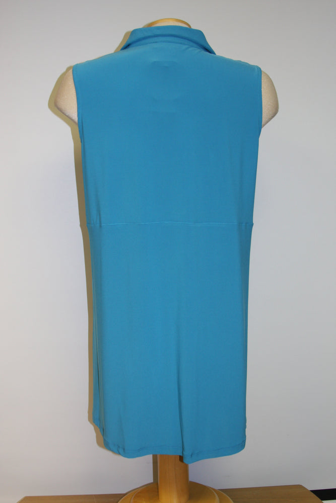 Pretty Woman Button-up Tunic, Turquoise - one left, size 3X