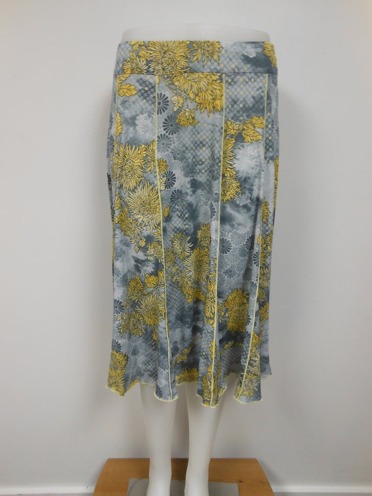 Panel skirt, grey/yellow, petite, made in Canada