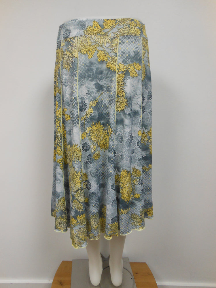 Lasania Grey Yellow Panel Skirt, Petite,  One left, Size  8