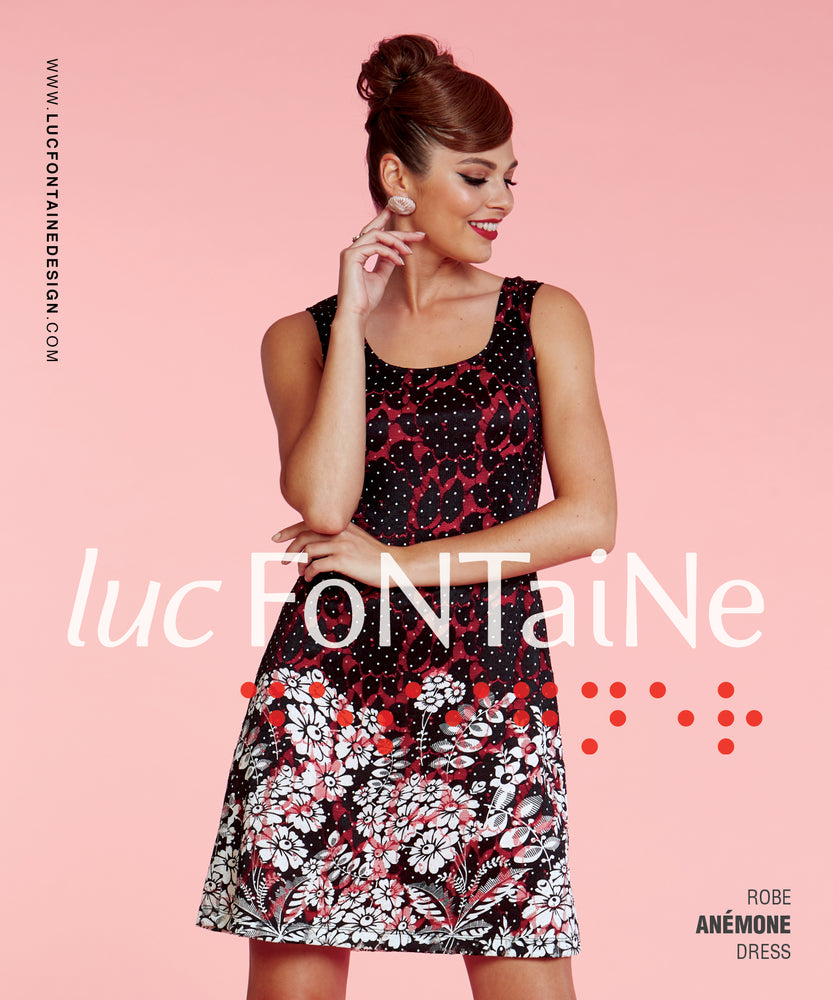 Luc Fontaine Black Coral Lace Dress