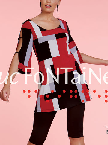 LUC FONTAINE RED BLACK WHITE BLOCK TUNIC