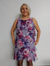 Load image into Gallery viewer, Mauve floral print Chiffon Dress with Feminine Layers