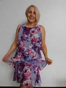 Mauve floral print Chiffon Dress with Feminine Layers
