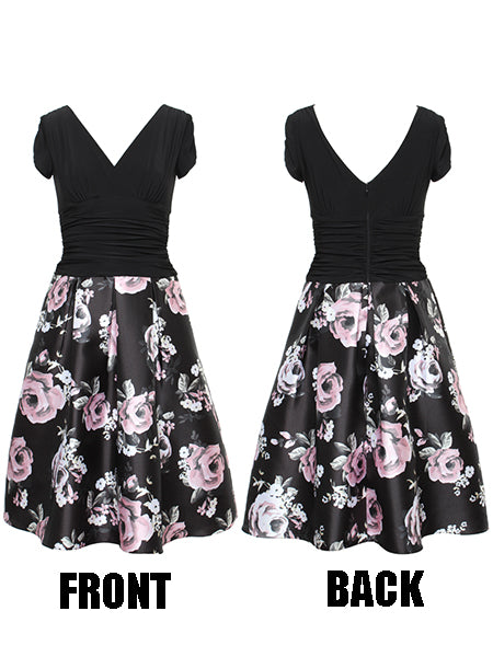 Black Rose Dress with Floral Skirt