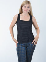 Black Ruched Tank Top