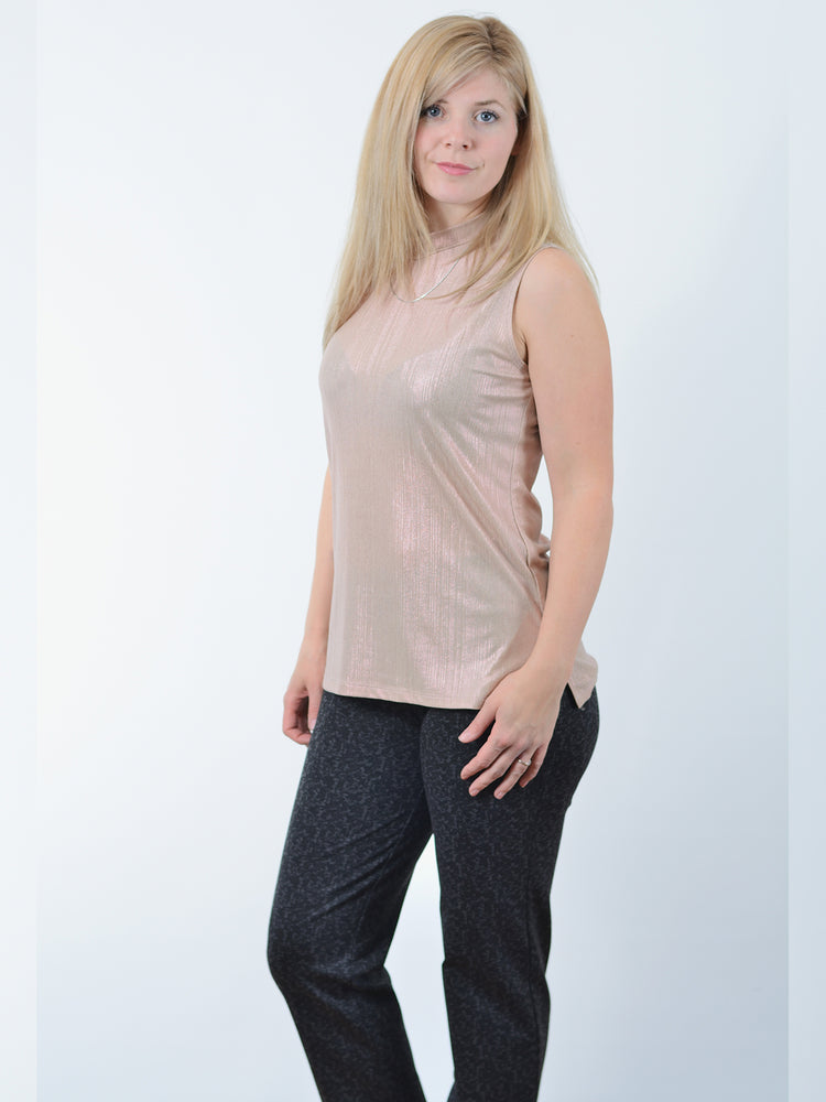 Pink Sleeveless Mock-Neck Top