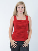 Red Ruched Tank Top