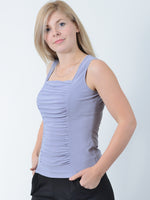Silver Grey Ruched Tank Top
