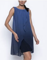 Frank Lyman blue dress with blingy neckline Cape 208463