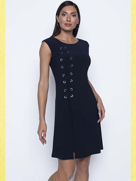 Frank Lyman Navy Grommet Tie Dress