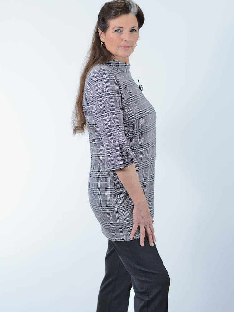 Black Grey Houndstooth Tunic
