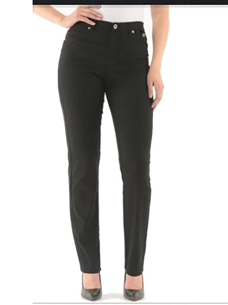 Gigi Slim Elastic Waist Black Stretch Twill Pant