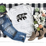 Grey Cotton Tshirt with Bear and Wolf Mountain Motif