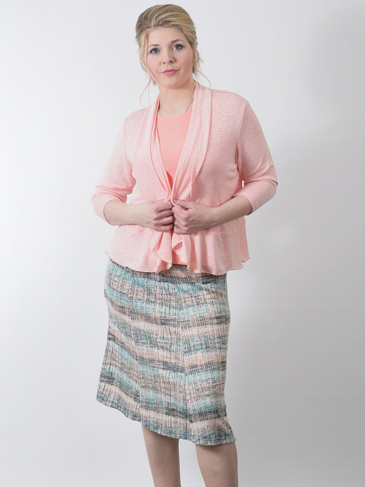 Panel skirt, pastel print, made in Canada