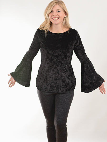 Black Velour Bell Sleeve Top