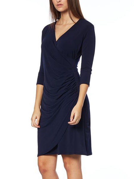 Navy Ruched Cross-over Dress