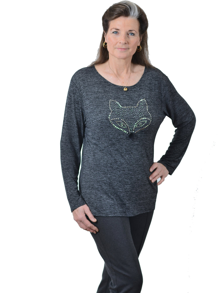 Glamour Charcoal Grey Fox T-Shirt